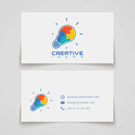conceptual bulb: Business card template. Light bulb with jigsaw puzzle pieces inside. Conceptual logo. Vector illustration.