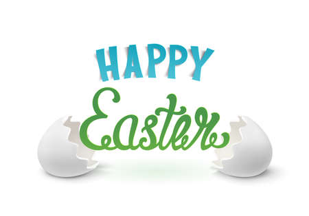 open type font: Happy Easter background with two egg shells. Hand drawn calligraphic typeface. Vector illustration.