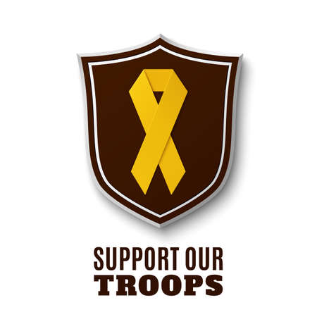 Support our troops. Yellow ribbon on top of the shield, isolated on white background. Vector illustration.