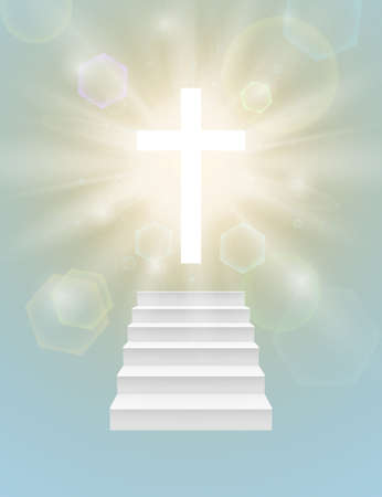 Religious background with white cross, sun rays and stairway going up to the heaven. Vector illustration.