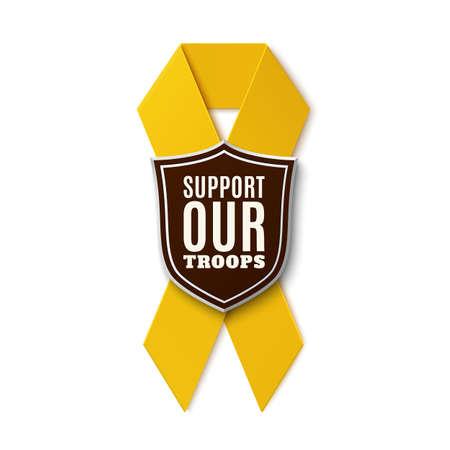 Sostenere le nostre truppe. Nastro giallo con lo scudo isolato su sfondo bianco. Illustrazione vettoriale. Vettoriali
