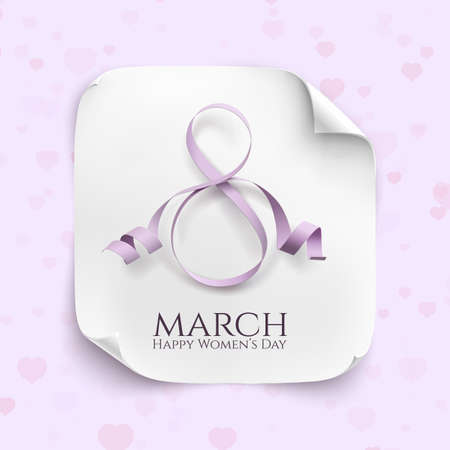 March 8 greeting card. Background template for International Womens Day. Vector illustration. White curved paper banner