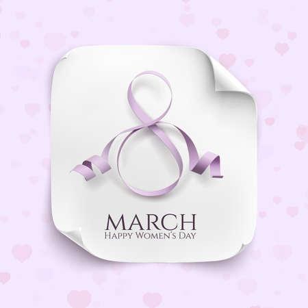tarjeta de felicitación de marzo de 8 personas. Modelo del fondo para el Día Internacional de la Mujer. Ilustración del vector. La bandera blanca de papel curvado Ilustración de vector