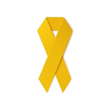 Geel lint op een witte achtergrond. Troepen steun, zelfmoord preventie, botkanker, adoptieouders symbool. Vector illustratie.