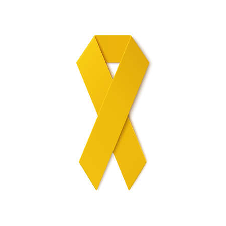 adoptive: Yellow ribbon isolated on white background. Troop support, suicide prevention, bone cancer, adoptive parents symbol. Vector illustration.