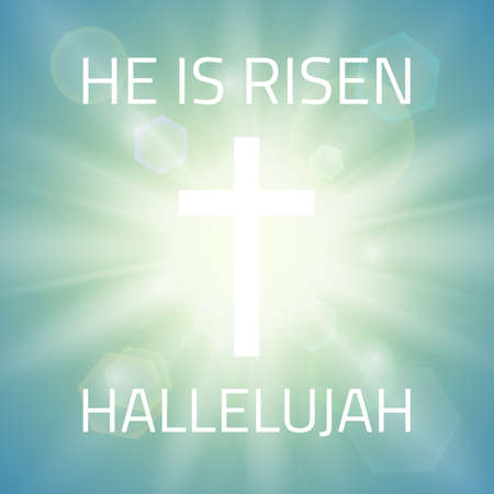 Egli è risorto, Alleluia. Sfondo di Pasqua con croce bianca e raggi del sole e nel cielo. Illustrazione vettoriale.