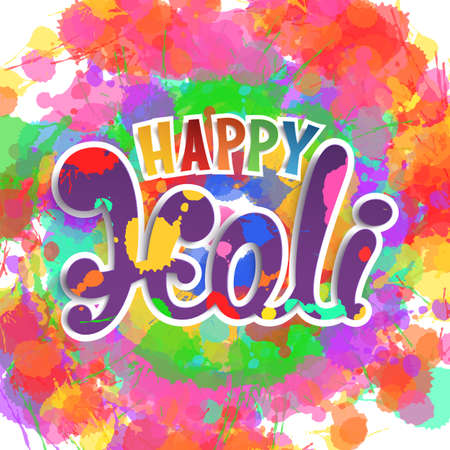 festival vector: Happy Holi, handmade calligraphic typeface on colorful background. Template for Indian Holi festival poster. Vector illustration.