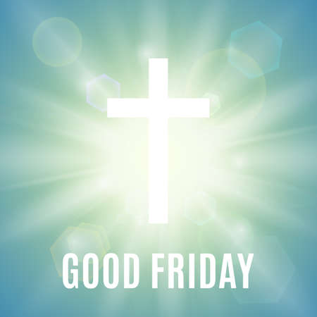 Good Friday. Background with white cross and sun rays in the sky. Vector illustration.
