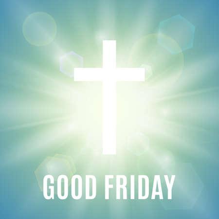 viernes santo: Buen viernes. Antecedentes Con la cruz y sol blancos rayos en el cielo. Ilustración del vector.