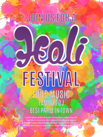 gulal: Holi festival poster. Template for flyer, brochure or invitation card. Vector illustration. Illustration