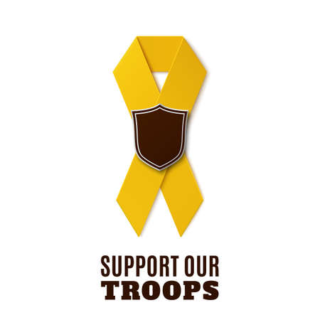 troops: Support our troops. Yellow ribbon with shield isolated on white background. Vector illustration.