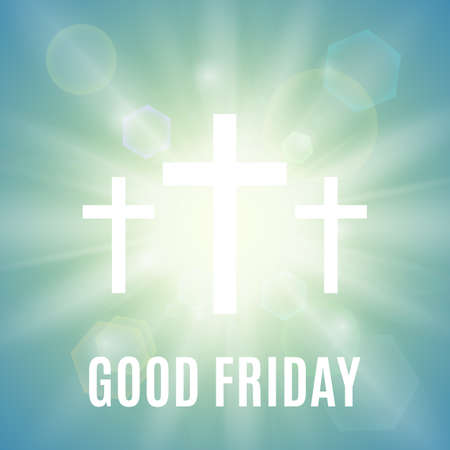 friday: Good Friday. Background with white cross and sun rays in the sky. Vector illustration.