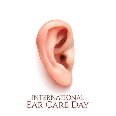 ears: International ear care day. Realistic ear isolated on white background. Vector illustration.