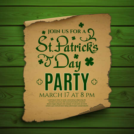 st patricks party: St. Patricks Day party. Invitation poster, flyer or brochure template. Calligraphic typeface on old scroll isolated on white background. Vector illustration.