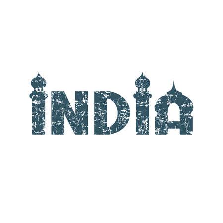 India hand lettering handmade calligraphy. Grunge conceptual logo. Vector illustration.