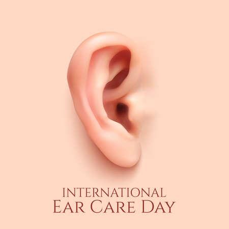 oido: Día internacional del cuidado del oído con el oído .background realista. Ilustración del vector.