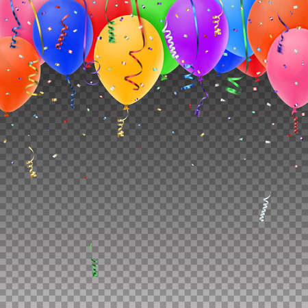 Celebration background template with balloons, confetti and colorful ribbons on transparent background. Vector illustration. Stock Illustratie