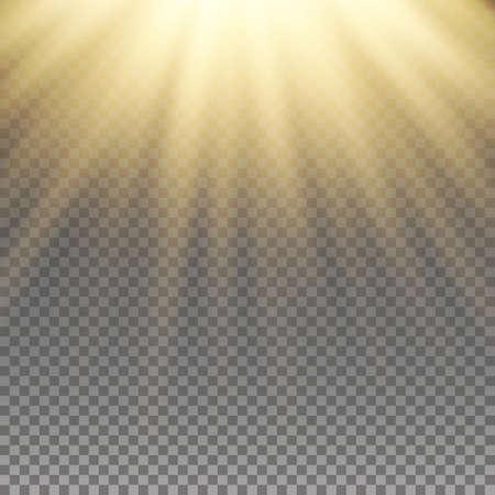 Giallo effetto luce calda, i raggi del sole, travi su sfondo trasparente. Illustrazione vettoriale.