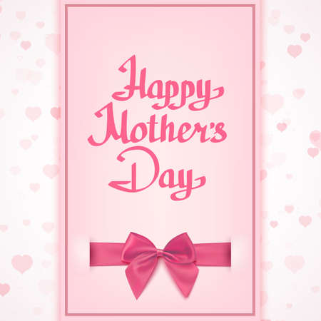 mother's day: Happy Mothers Day lettering handmade calligraphy. Greeting card template with pink ribbon and bow. Vector illustration.