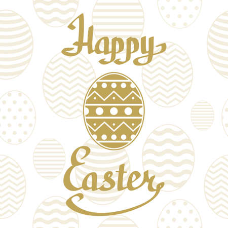 golden eggs: Happy Easter golden lettering handmade calligraphy on white background and golden eggs. Greeting card template. Vector illustration.