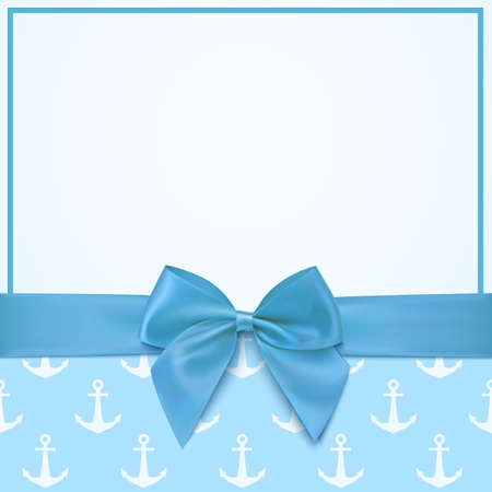 Blank greeting card template for baby boy shower celebration or baby boy announcement card. Vector illustration.