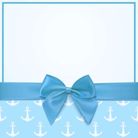 Pusty szablon karty z pozdrowieniami dla chłopczyk prysznicem celebracji lub baby boy karta ogłoszenia. ilustracji wektorowych.