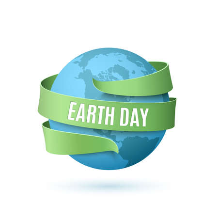 Earth day background with blue globe and green ribbon around, isolated on white background. Vector illustration. Vettoriali