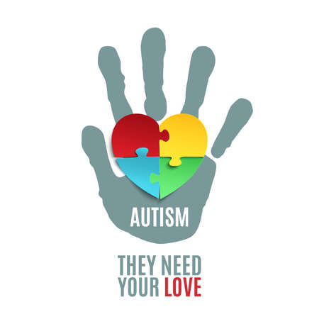 They need your love. Autism awareness poster or brochure template. Jigsaw puzzle pieces in form of heart with childs hand print, isolated on white background. illustration. Banco de Imagens - 53902023