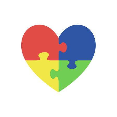 Stukjes van de puzzel in de vorm van hart, op een witte achtergrond. Autisme symbool. illustratie.