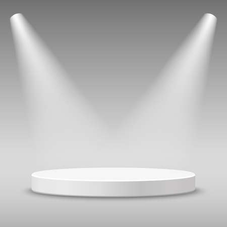 Illuminated round stage podium pedestal. illustration. Illustration