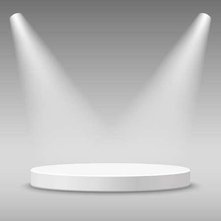 stage projector: Illuminated round stage podium pedestal. illustration. Illustration
