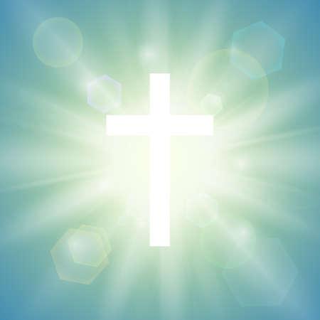 Religijne tło z białym krzyżykiem i promienie słońca na niebie. ilustracja.