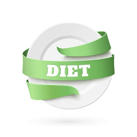 empty plate: Diet background. Empty plate with green ribbon around, isolated on white. illustration.