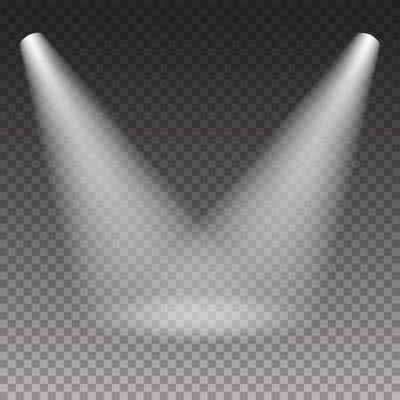 シーン照明冷たい白い光の効果透明な背景に。イラスト。