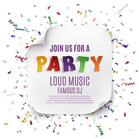Party poster template with realistic curved on celebration background with colorful confetti and ribbons . illustration.