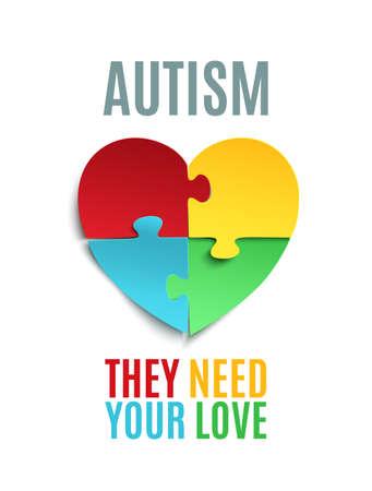 あなたの愛が必要です。自閉症啓発ポスターやパンフレットのテンプレートです。ハート、白い背景で隔離の形にジグソー パズルのピース。イラス