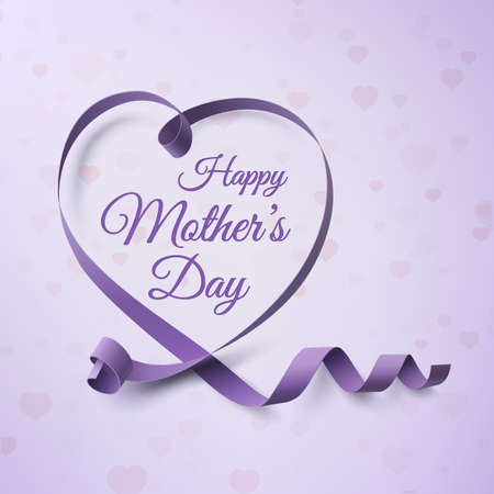 Happy Mothers Day greeting card template. Background with purple ribbon and hearts. Vector illustration.