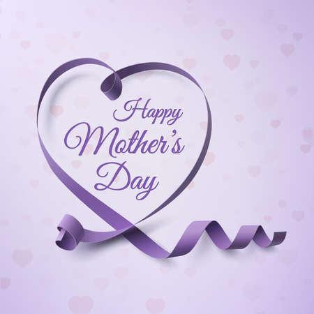 Modèle de carte de voeux joyeux fête des mères. Fond avec ruban violet et coeurs. Illustration vectorielle Vecteurs