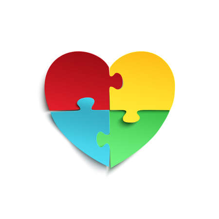 heart puzzle: Jigsaw puzzle pieces in form of heart, isolated on white background. Autism symbol. Vector illustration.