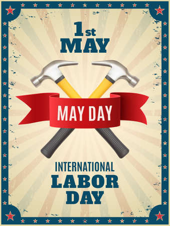 laborer: May Day. May 1st. background with two hummers and red ribbon. Poster, greeting card or brochure template with colorful rays and stars. Vector illustration.