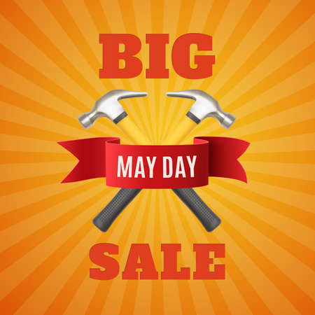 labor market: Big May Day sale. May 1st. Labor Day background with two hummers and red ribbon. Poster, or brochure template. Vector illustration. Illustration
