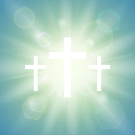Religious background with three white crosses and sun rays in the sky. Vector illustration.
