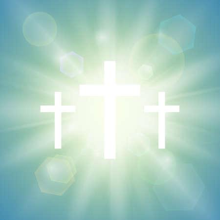 w tle religijnym z trzema białymi krzyżami i promienie słońca na niebie. ilustracji wektorowych.
