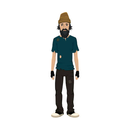Homeless skinny shaggy man in dirty old clothes isolated on white background. Vector illustration.