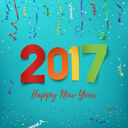 happy newyear: Happy New Year 2017 background. Colorful, hand drawn paper typeface on celebration backdrop. Greeting card template. Vector illustration. Illustration