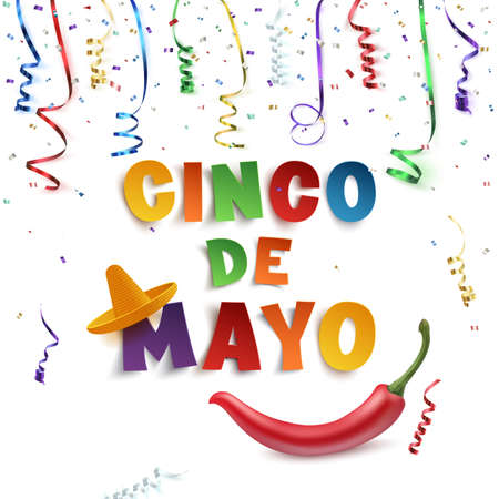 Cinco de Mayo background template with colorful ribbons, confetti, sombrero and red chili pepper, isolated on white background. Vector illustration.