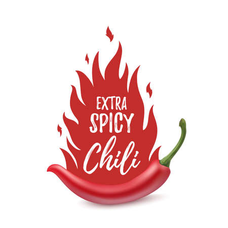 Extra spicy chili paper poster, badge or banner template with fire, isolated on white background. Vector illustration. Ilustração