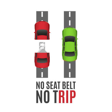 cars on road: Safety belt conceptual background.Safety belt conceptual background with two cars, road and seat belt. Safe trip concept. Seat belt concept. Fasten Seat belt background. Vector illustration.