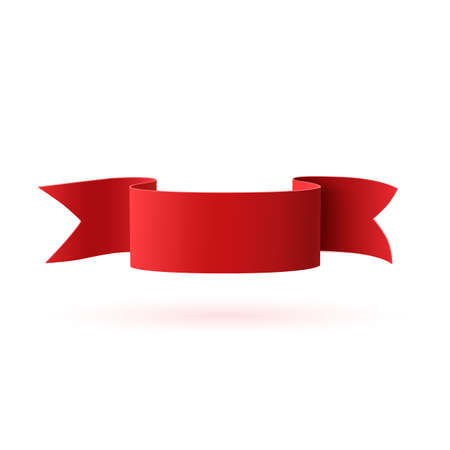Red, curved paper ribbon isolated on white background. Banner template. Vector illustration. Vectores