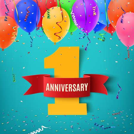 jeden: Jeden rok výročí oslava pozadí s červenou stuhou konfety a balónky. Výročí stuhou. Výročí večírek plakát nebo brožura šablona. Výročí poutač. Vektorové ilustrace.